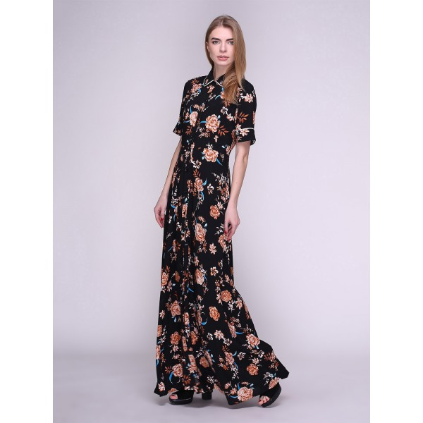 Длинное платье-рубашка черное в цветы