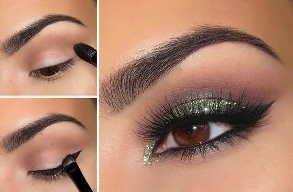 Для макияжа карих глаз азиатского типа тени следует подбирать всех оттенков серого
