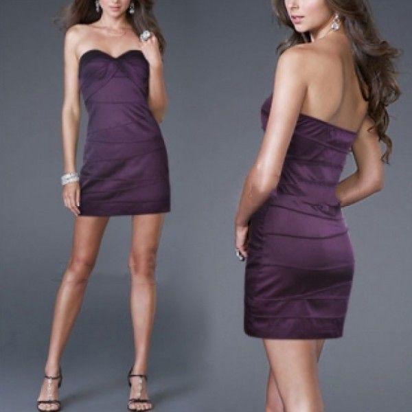 Фиолетовое платье без бретелек