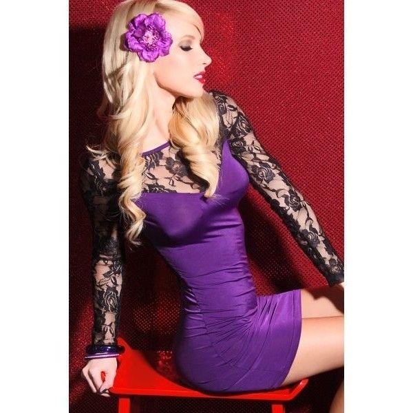 Фиолетовое платье с черными рукавами