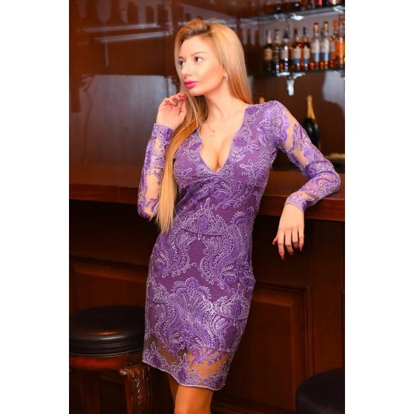 Фиолетовые ткань из кружева