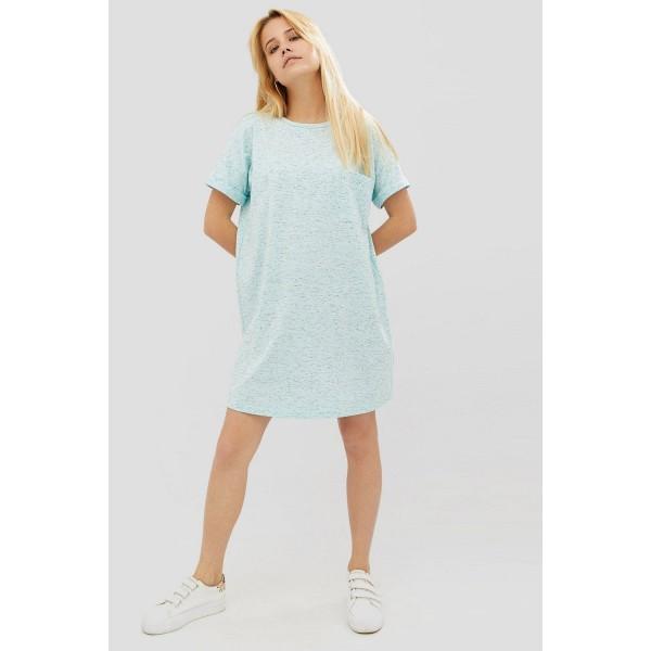 Голубая футболка платье