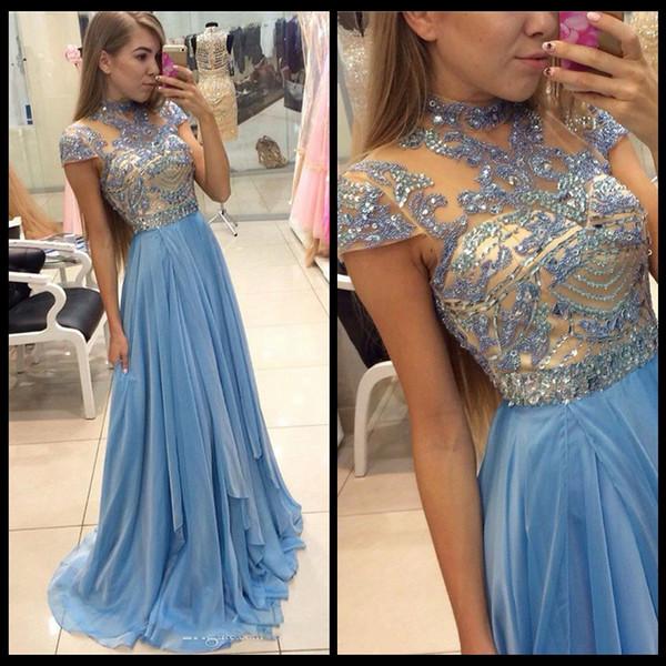 Голубое вечернее шифоновое платье