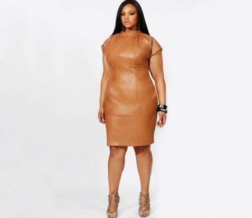 Кожаное платье-футляр для полных девушек