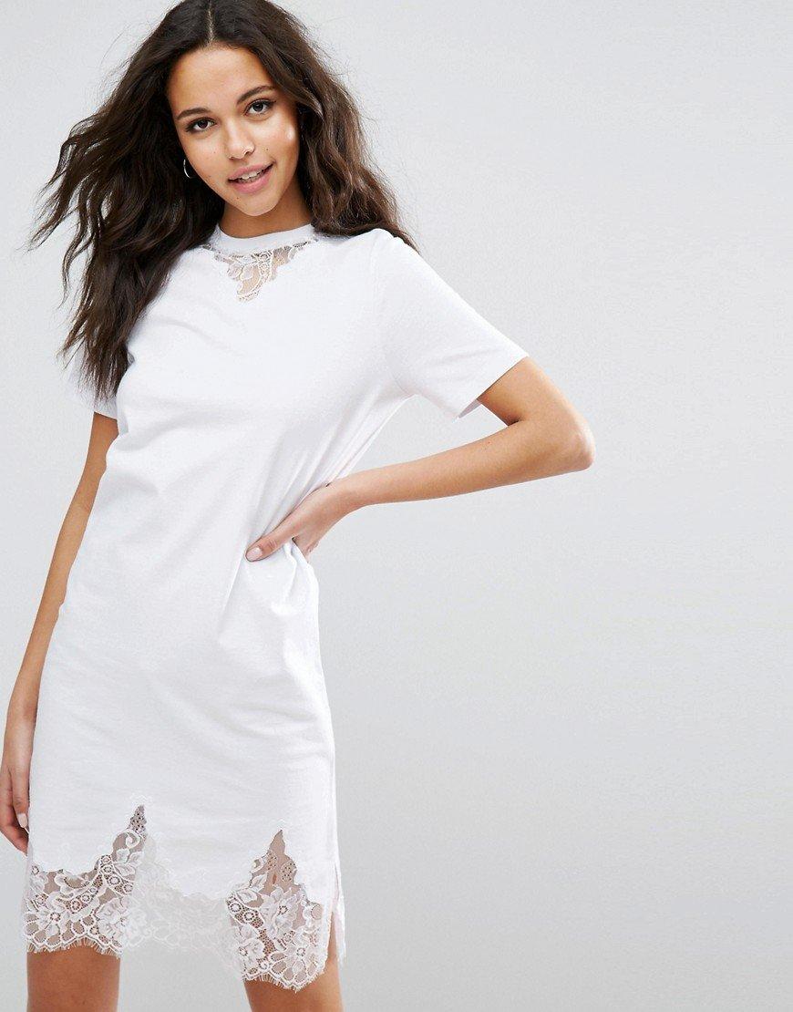 Кружевное платье-футболка