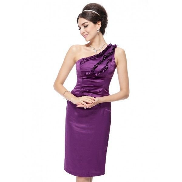 Летнее фиолетовое платье на одно плечо