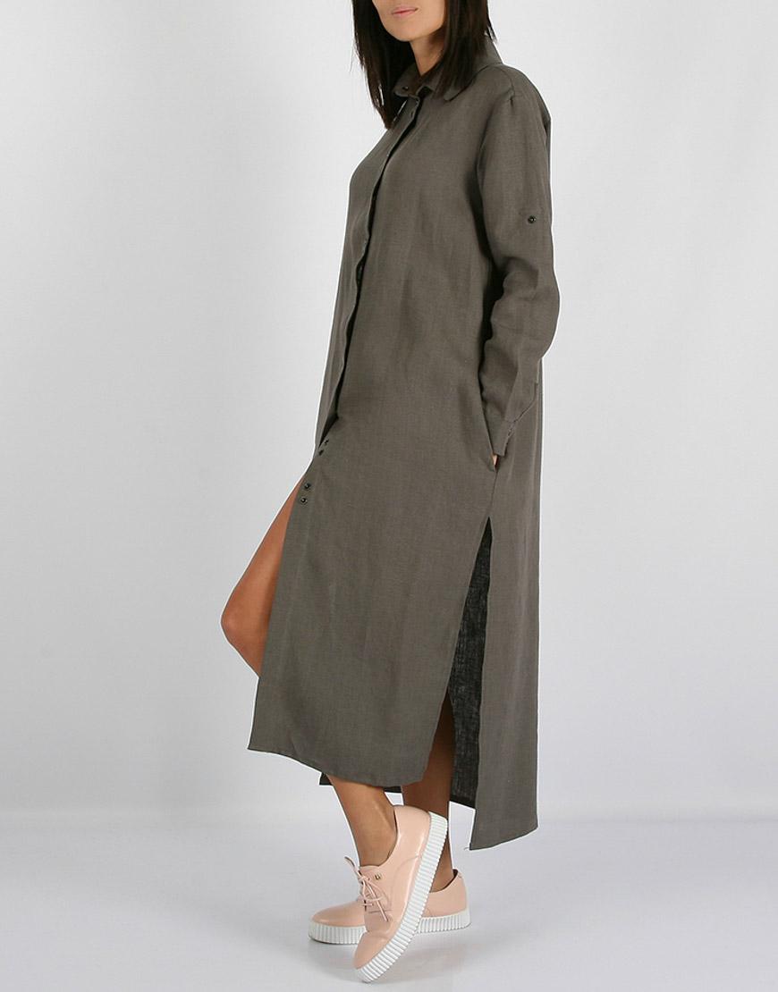 Льняное платье-рубашка с капюшоном