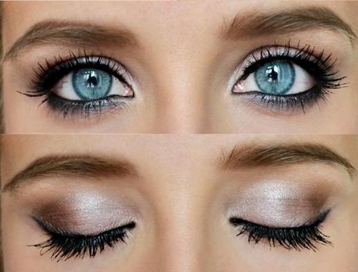 Оригинальная идея макияжа для голубых глаз.