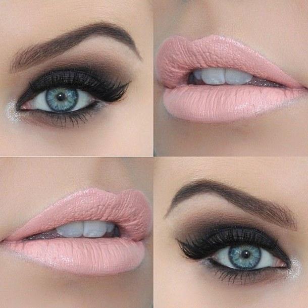 Оригинальный свадебный макияж для голубых глаз