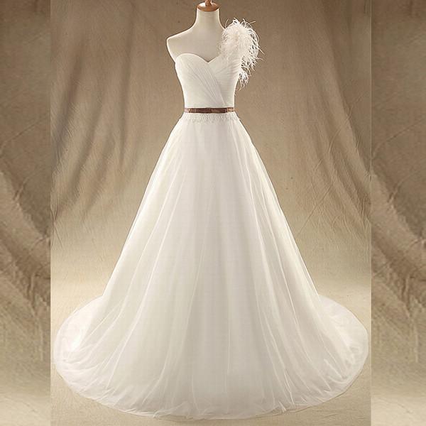 Ошеломляющий свадебное платье с одним плечом