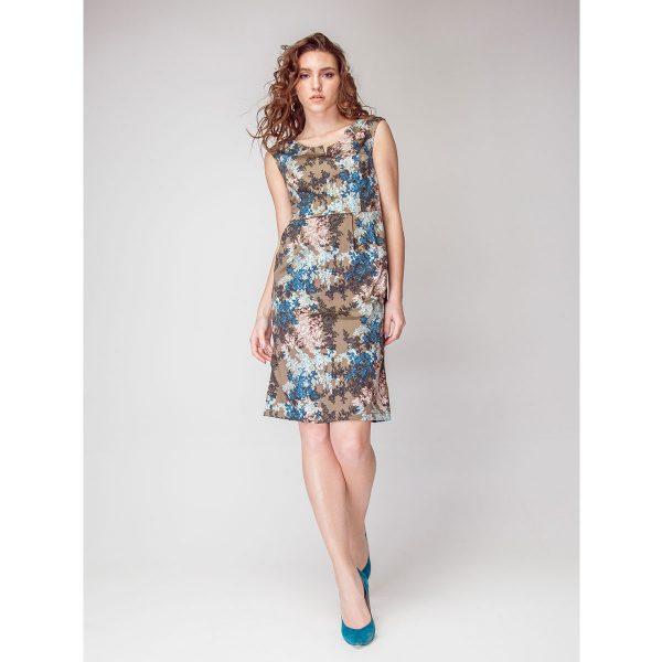 Пестрое платье-футляр из хлопка