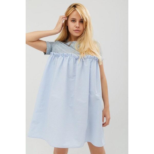 Платье футболка голубого цвета