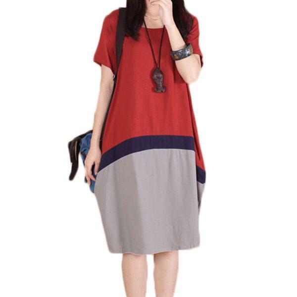 Платье-футболка с полоской посередине длиной до колен