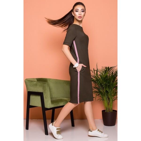 Платье-футболка цвета хаки