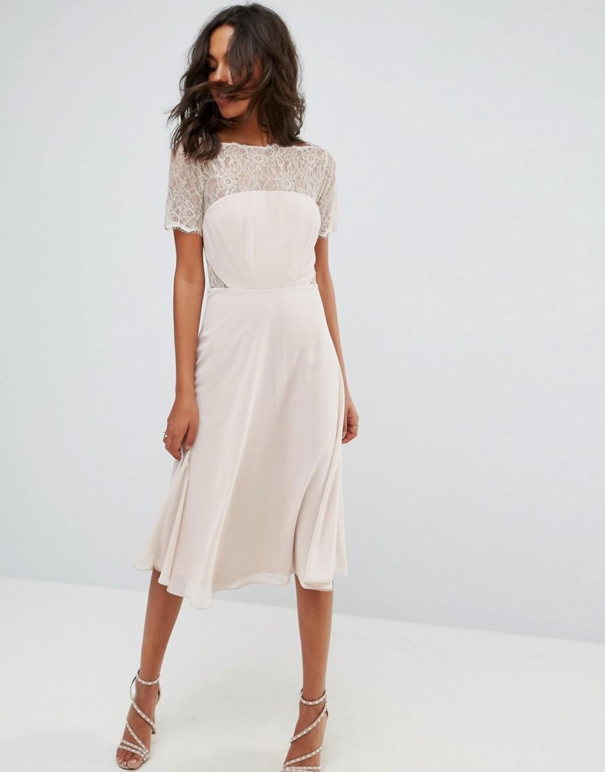 Платье миди с кружевными вставками