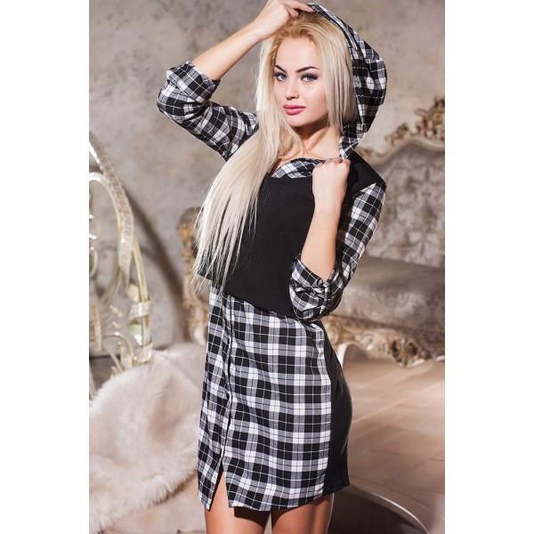 Платье-рубашка без пояса с жилетом