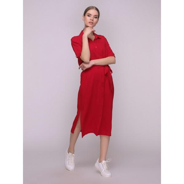 Платье-рубашка красное миди