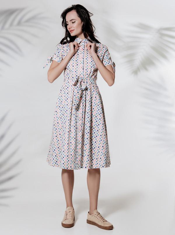 Платье-рубашка миди с планкой на кнопках