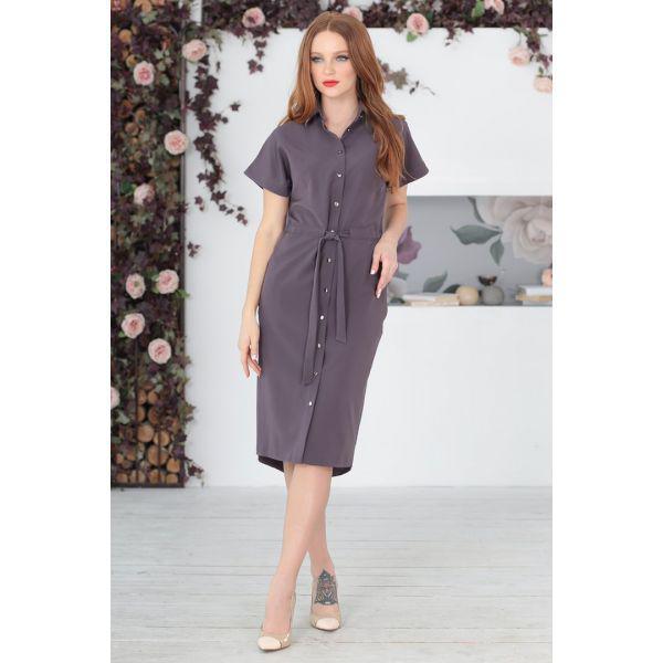 Платье-рубашка с поясом коричневого цвета