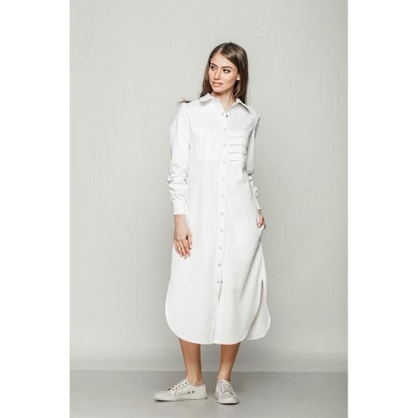 Платье-рубашка удлиненное из льна