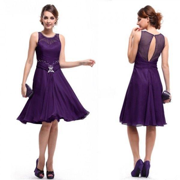 Платье с вырезом на спине фиолетовое