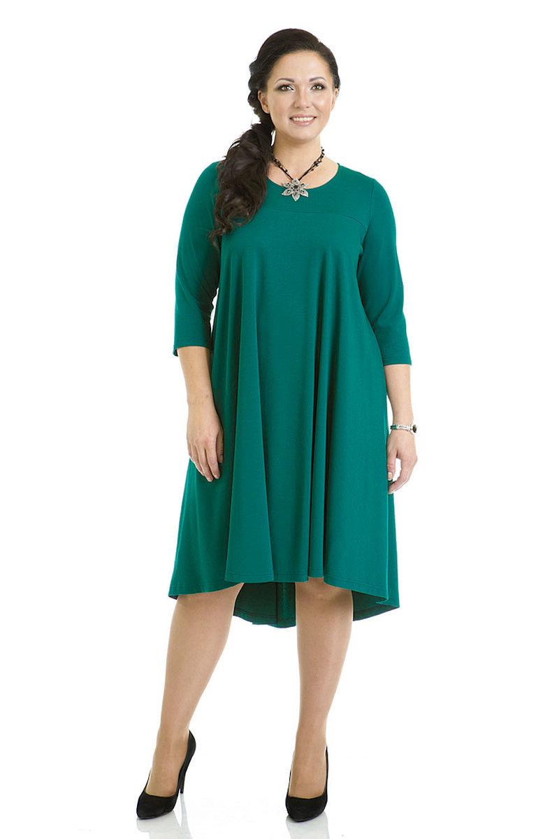 Платье-трапеция для полных в бирюзовом цвете