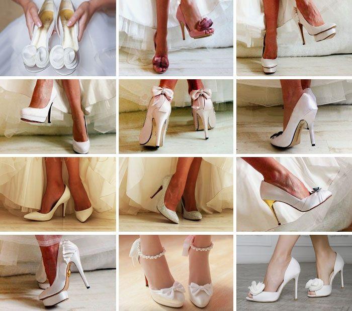 Разные туфли к свадебному платью цвета айвори