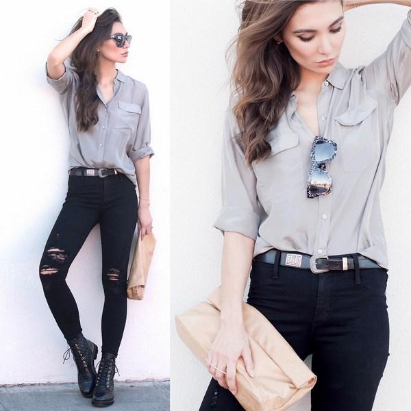 Рубашка под черные джинсы
