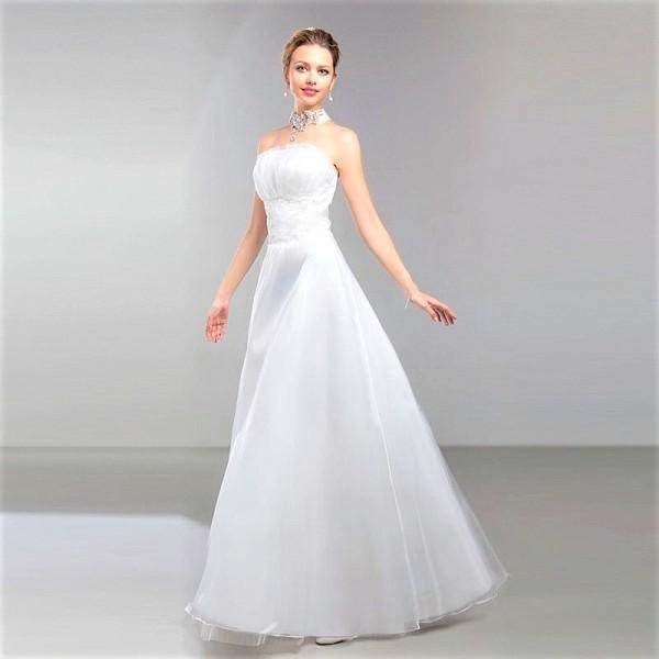 Свадебное утонченное платье А-силуэта
