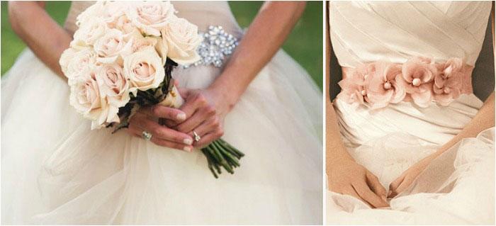 Свадебный букет под платье цвета айвори