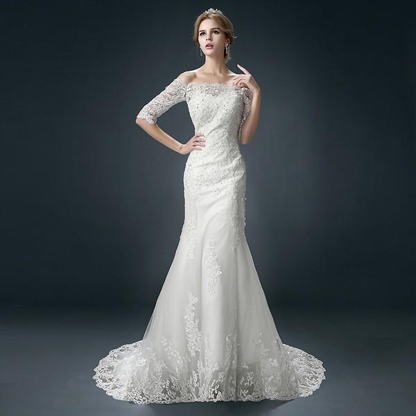 Свадебный наряд с длинным рукавом
