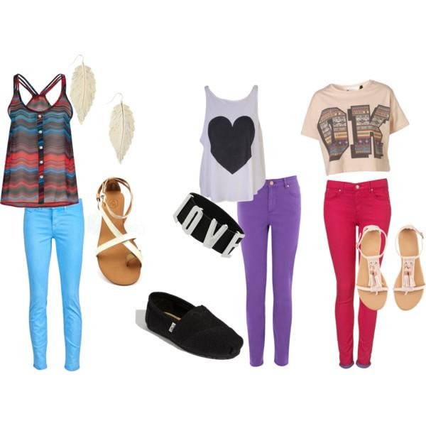 Цветные обтягивающие джинсы и как их носить