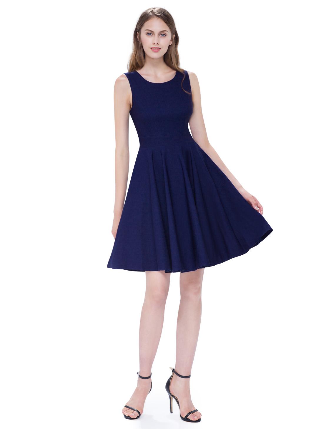 Темно-синее хлопковое платье