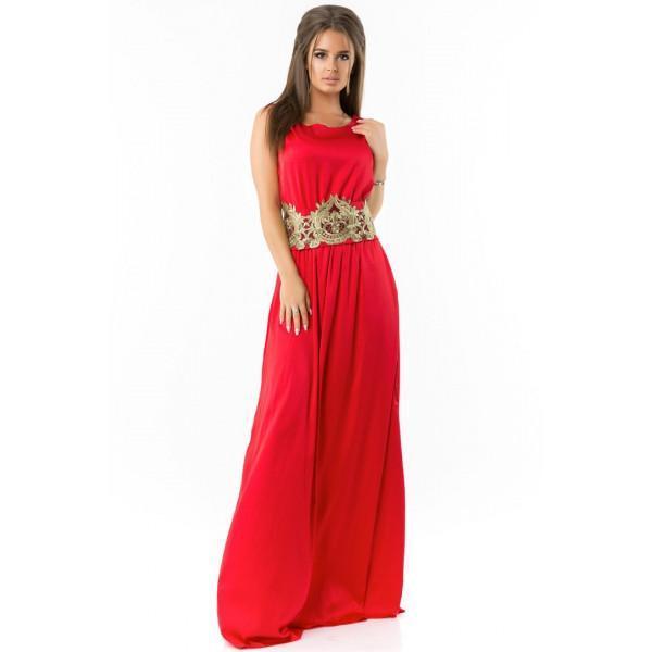 Вечернее шелковое платье с кружевом