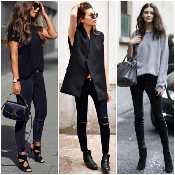 Зауженные черные штаны