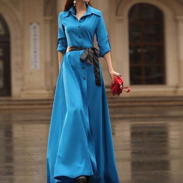 Голубое платье в пол с рукавом-сафари