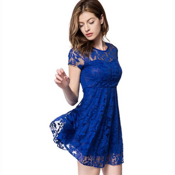 Короткое кружевное синее платье летнее