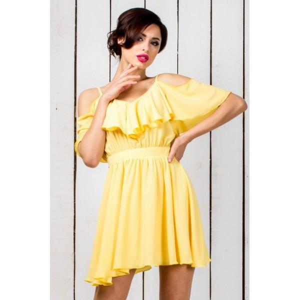 Летнее платье с воланом на груди и открытой спинкой