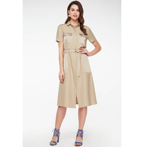 Платье-сафари бежевого цвета