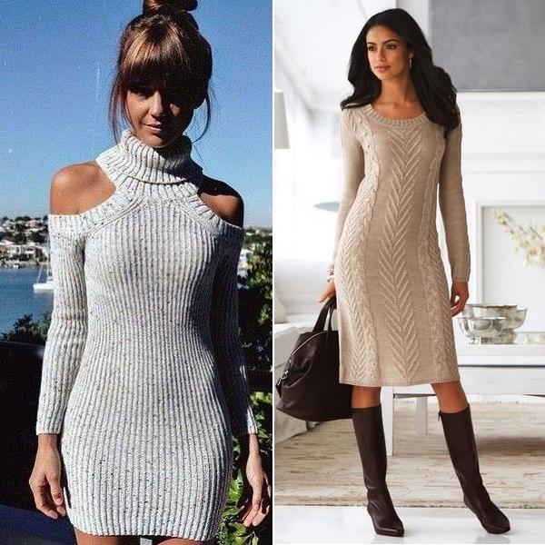 Просто волшебно будут смотреться теплые длинные и трикотажные платья