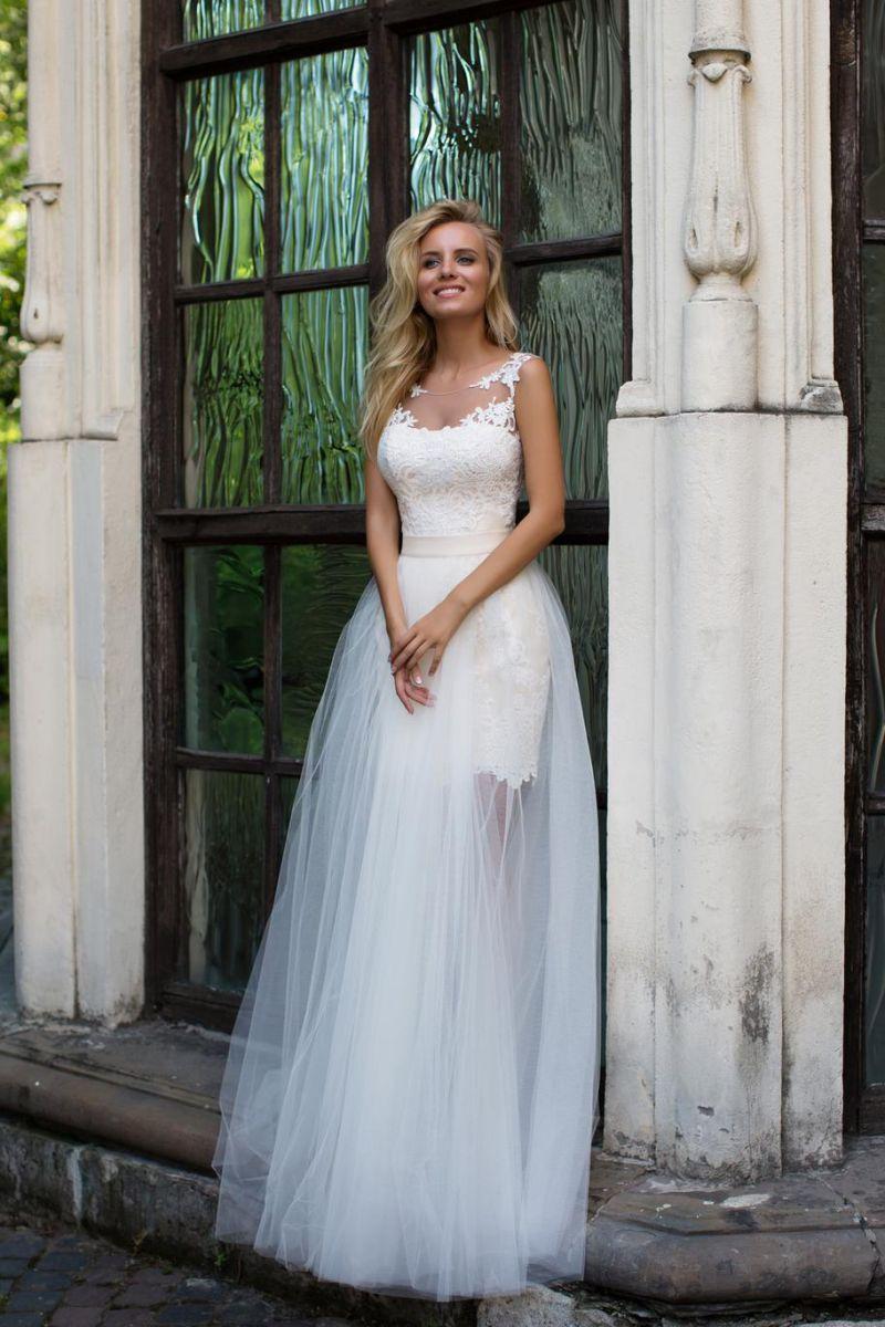 Свадебное платье трансформер с отстегивающейся юбкой органза