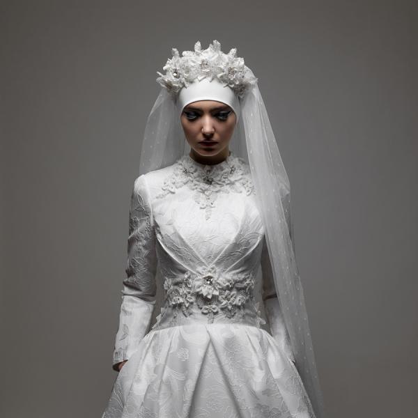 Белое мусульманское свадебное платье