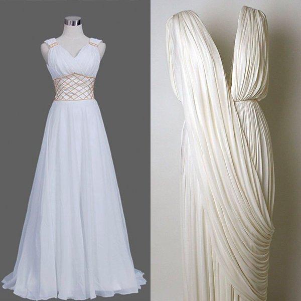 Греческое платье белого оттенка
