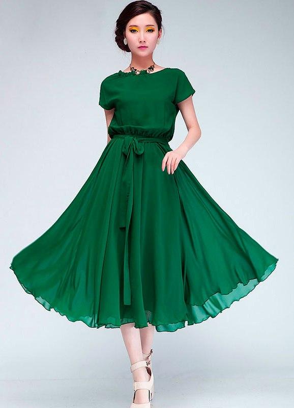 Красивое зеленое платье