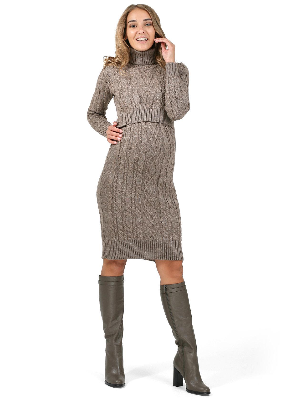 Вязаное зимнее платье для беременных