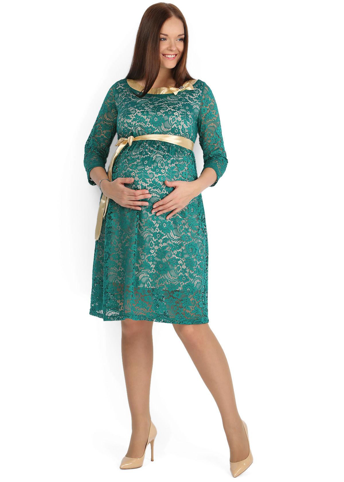 Зеленое платье с гипюром для беременных