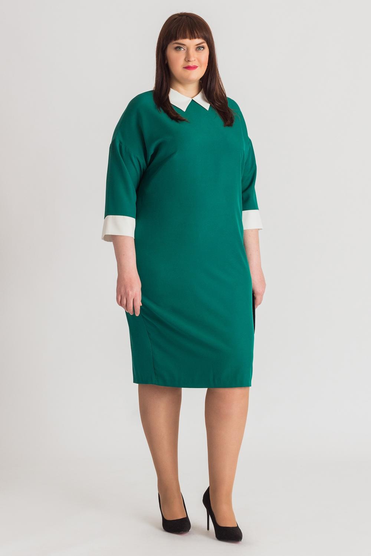 Деловое приталенное платье для полных