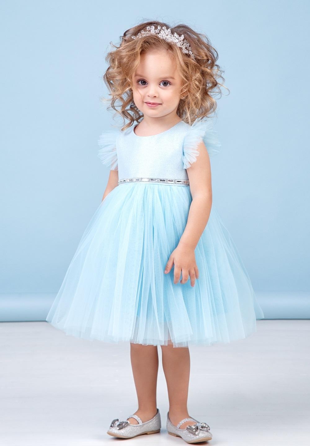 голубое нарядное платье для девочек