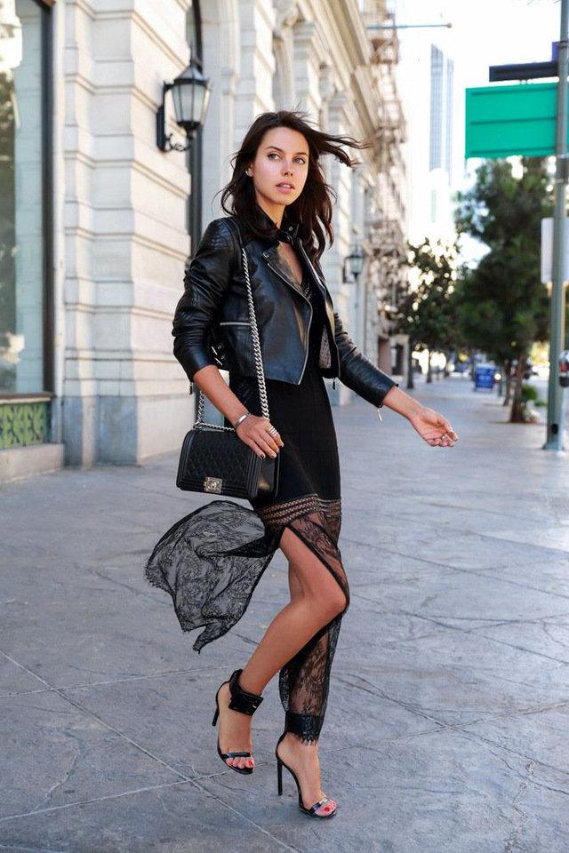 для застывания кружевное платье с кожаной курткой фото всех