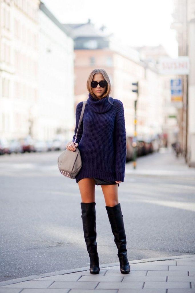 синее платье с серыми сапогами фото поиск торговых комплексов